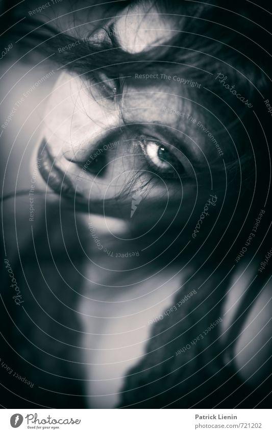 dark messages Mensch Frau Jugendliche schön Junge Frau dunkel Erwachsene Gesicht Auge feminin Haare & Frisuren natürlich Feste & Feiern außergewöhnlich Kopf