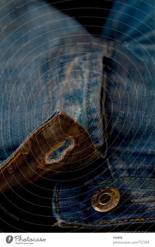 auf gehts blau Jeanshose offen Hose Stoff Knöpfe Knopfloch Hosenschlitz