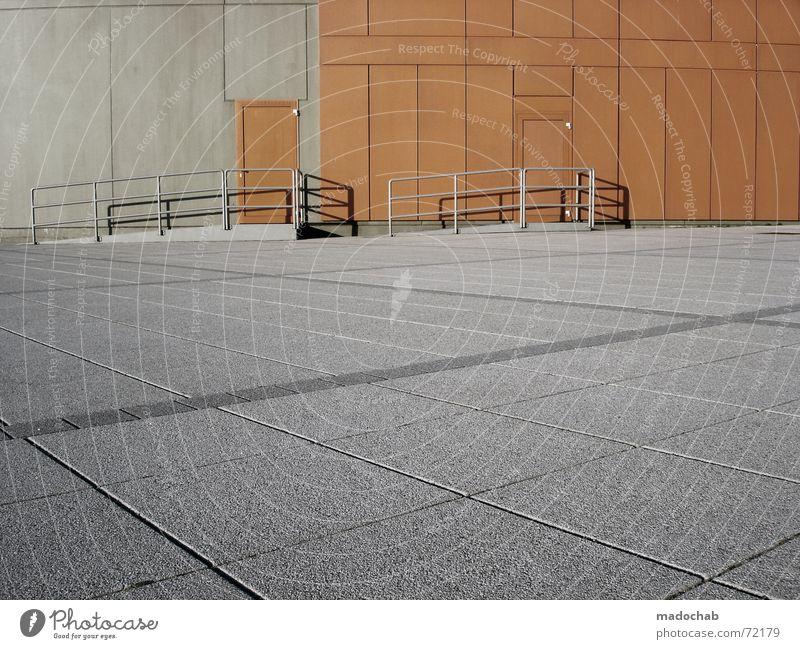 STYLE | türen wand struktur boden grafik orange style anonym Einsamkeit Stil grau Linie orange Architektur Tür Beton leer Industrie Treppe trist Bodenbelag Streifen Quadrat Grafik u. Illustration