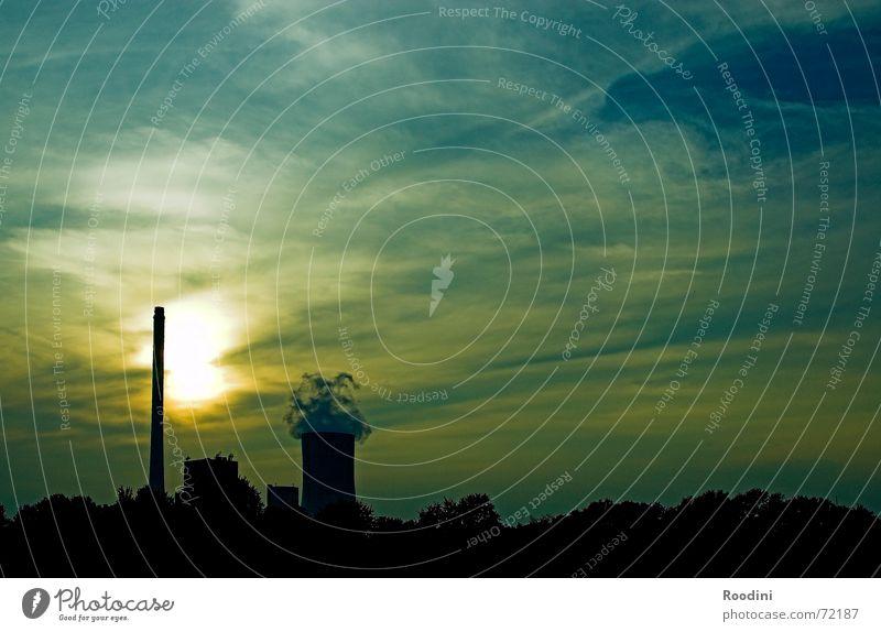 Dual-Core Sonnenenergie Kohlekraftwerk Elektrizität Ruhrgebiet Sonnenuntergang Wolken Umweltschutz Versorgung Abenddämmerung Fabrik Energiewirtschaft Atom