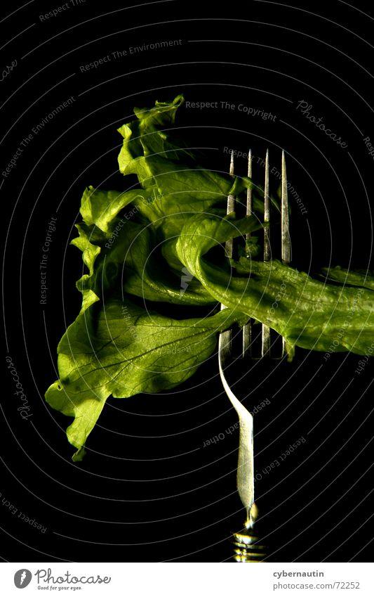 Eisbergsalat (farbig) grün Metall Ernährung Küche Besteck Salat Gabel Vegetarische Ernährung