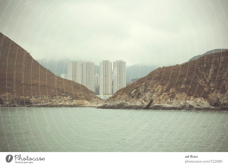 Einzelgänger   Nicht alleine Wasser Meer Landschaft Wolken kalt Herbst Küste Architektur Fassade Regen Nebel Häusliches Leben Hochhaus Perspektive Insel