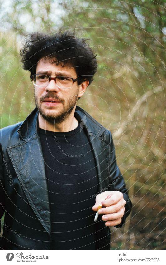 M.I.B Stil Mensch maskulin Junger Mann Jugendliche Erwachsene Kopf Gesicht Bart 1 18-30 Jahre Natur Landschaft Park Wald T-Shirt Jacke Leder Haare & Frisuren
