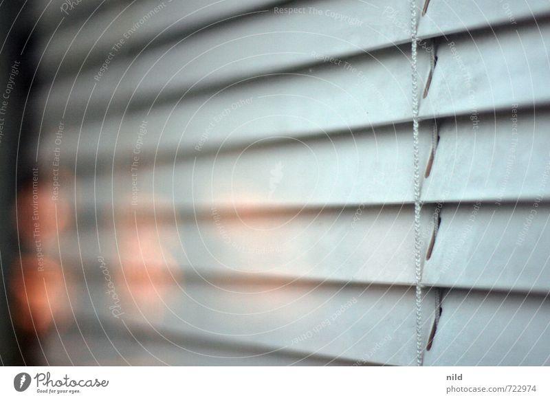 heute geschlossen Wohnung Renovieren Umzug (Wohnungswechsel) einrichten Jalousie Schaufenster Fenster Tür Glas blau grau orange Reflexion & Spiegelung Farbfoto