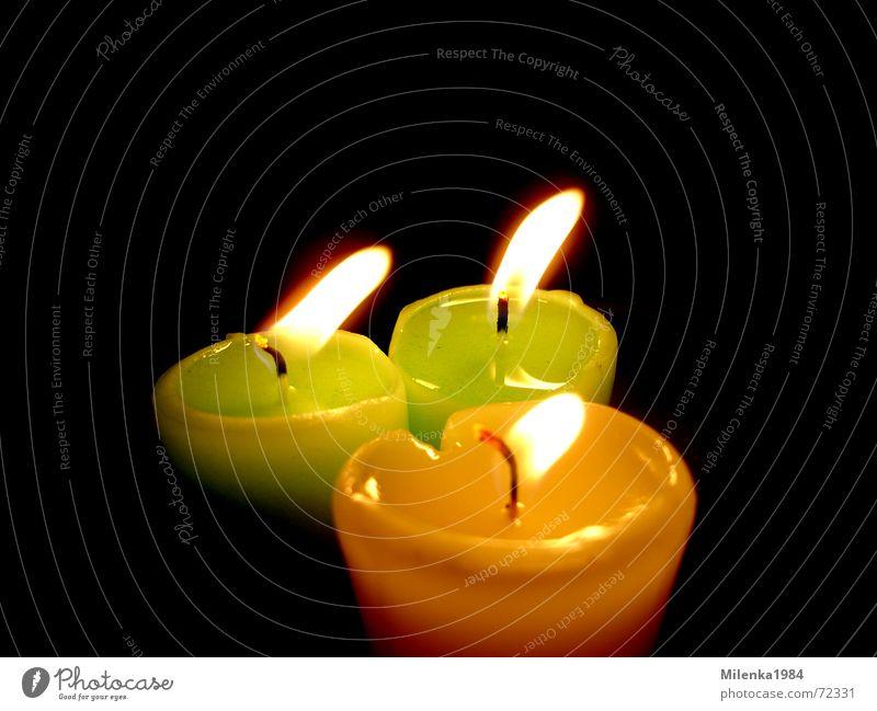 Kerzenschein Licht Freundlichkeit gelb grün Romantik Stimmung besinnlich harmonisch dunkel Innenaufnahme hell Farbe Vor dunklem Hintergrund Makroaufnahme