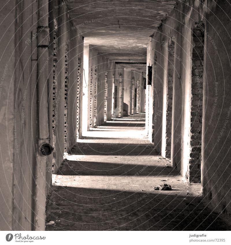 Kein Mädchen im Gang alt weiß Haus schwarz Wand Wege & Pfade Gebäude Raum Tür Hotel Fliesen u. Kacheln verfallen Tunnel Backstein Eingang