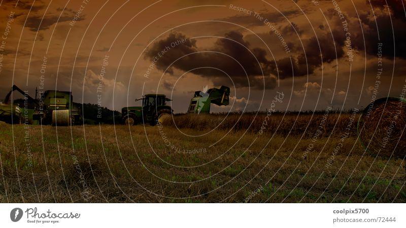 Erntezeit Feld Wiese Hafer Weizen Traktor Mähdrescher Maschine Landwirtschaft Landschaft Felsen Getreide Korn fahrzeuge