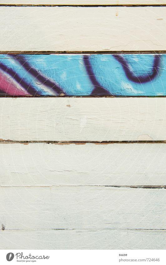 Ersatzteil Kunst Mauer Wand Fassade Holz Zeichen Graffiti Linie Streifen authentisch Coolness einfach trendy einzigartig trashig trocken blau weiß Farbe