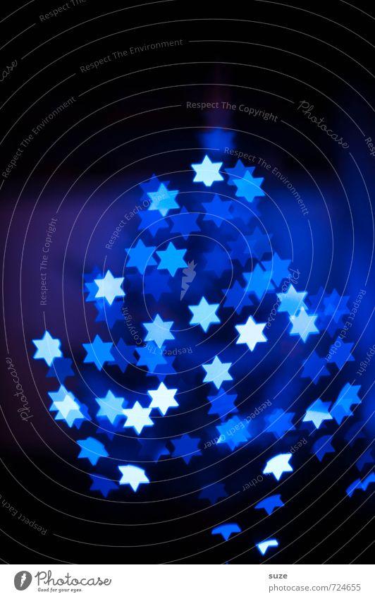 Sternenhaufen blau Weihnachten & Advent dunkel Gefühle Beleuchtung Stil Hintergrundbild Feste & Feiern außergewöhnlich Stimmung Party Lifestyle Dekoration & Verzierung Design leuchten Geburtstag