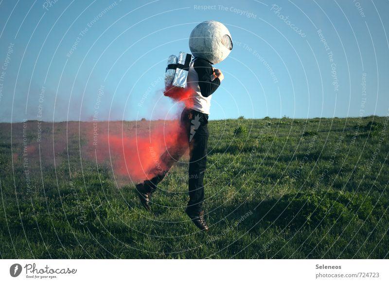 auf auf Freizeit & Hobby Spielen Ausflug Abenteuer Ferne Freiheit Erfolg Luftverkehr Raumfahrt Mensch 1 Horizont Gras Helm fliegen Unendlichkeit Euphorie
