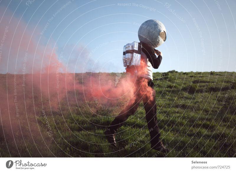 auf gehts Mensch Ferne Wiese Freiheit fliegen Horizont Luftverkehr Beginn Abenteuer Weltall Rauch Expedition