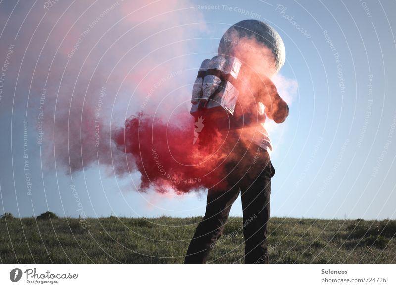 Dampf ablassen Mensch Himmel Ferne Bewegung Gras Freiheit Energiewirtschaft Luftverkehr Technik & Technologie verrückt Ausflug Beginn Zukunft Industrie