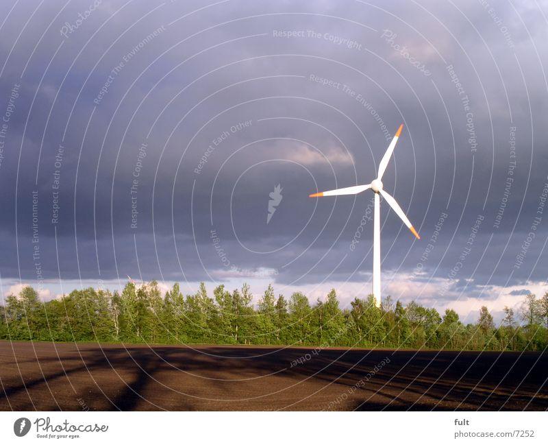 windrad Feld braun grün Erneuerbare Energie Elektrizität Design Logik Wolken Horizont Industrie Windkraftanlage Himmel blau Technik & Technologie okö Bewegung
