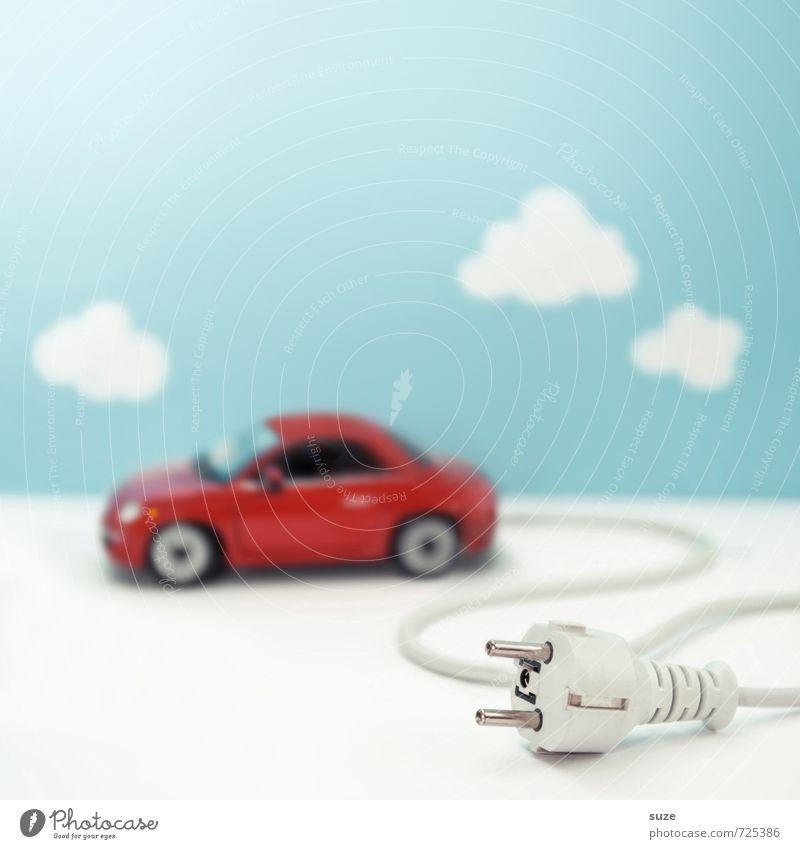 Power Car Himmel Natur blau rot Wolken Umwelt lustig klein PKW Verkehr modern Energiewirtschaft Klima Elektrizität Zukunft Idee