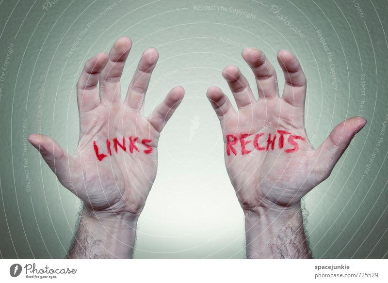 Links / Rechts Mensch maskulin Junger Mann Jugendliche Erwachsene Hand 1 30-45 Jahre Zeichen Schriftzeichen außergewöhnlich gruselig einzigartig lustig verrückt