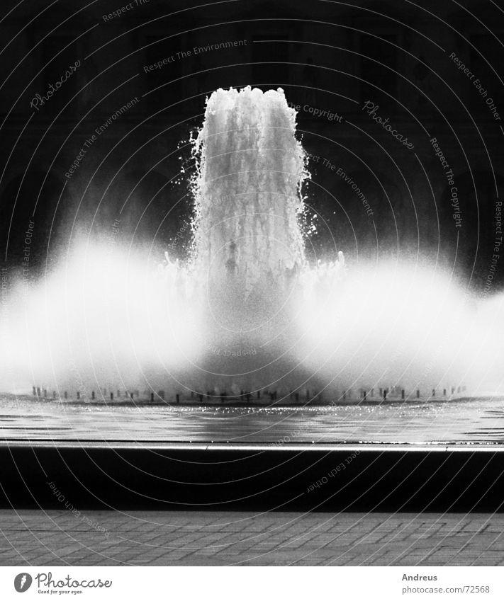 Fontäne Wasserfontäne spritzig Gischt Louvre Brunnen laut Schwarzweißfoto milchschaum Mineralwasser
