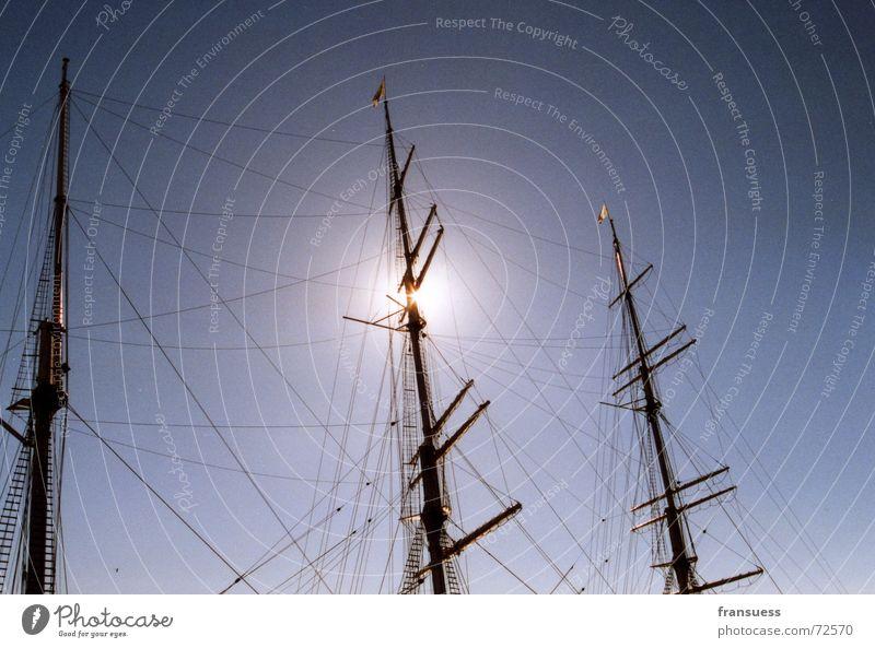 triptychon Wasserfahrzeug Meer Segeln Strommast barcke Sonne Himmel Seil Wind ocean sea ship sailing törn