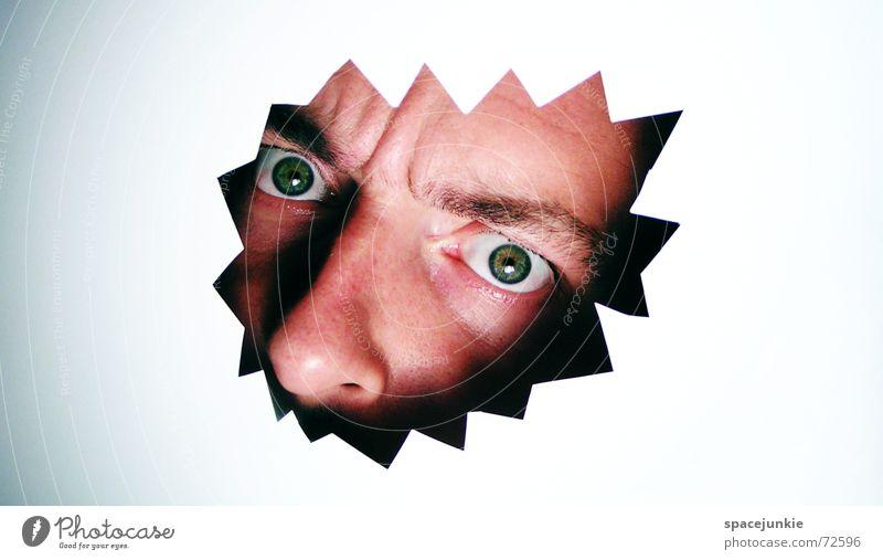 WATCHING YOU! Gesicht Auge beobachten verstecken Publikum Loch ernst Voyeurismus überwachen Überwachungsstaat