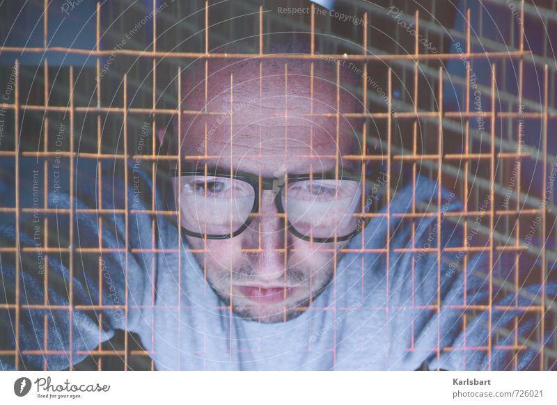 Netzwerk. Mensch Jugendliche Mann 18-30 Jahre Erwachsene Gesicht maskulin Business Büro Design Erfolg Zukunft Studium Technik & Technologie lernen Brille