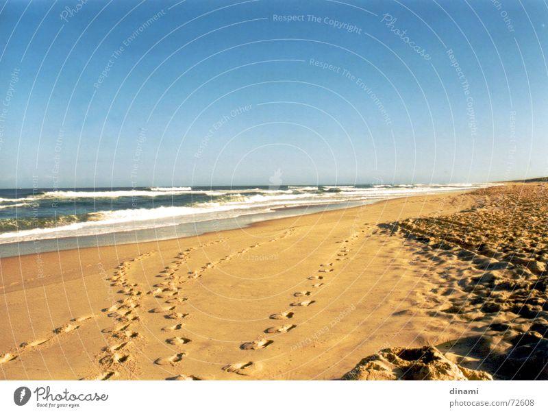 Strand Wellen Fußspur ruhig Einsamkeit Sonnenuntergang Atlantik Gelassenheit genießen Sand Wasser Blauer Himmel