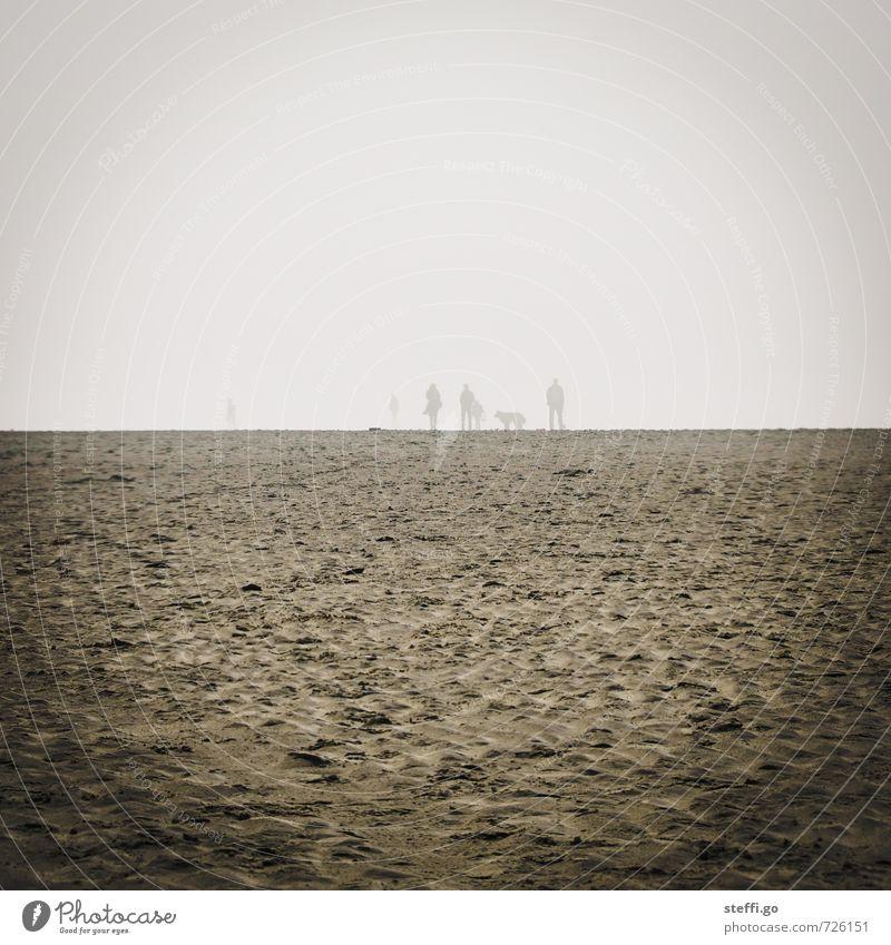 Sankt Peter Ording im Dunst Mensch Ferien & Urlaub & Reisen Sommer Meer Einsamkeit Landschaft Ferne Strand dunkel Frühling Freiheit Horizont Menschengruppe Paar