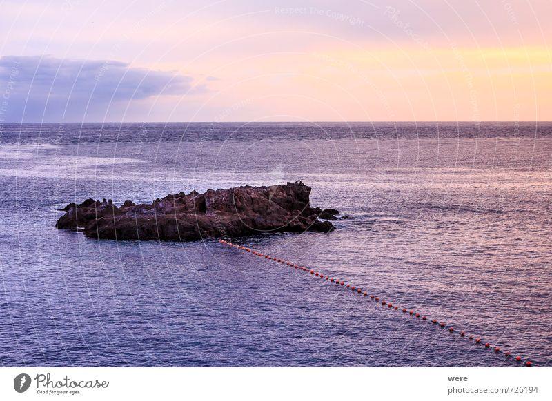 Fels im Meer Ferien & Urlaub & Reisen blau rot Wärme rosa träumen orange Insel genießen Spanien violett maritim Teneriffa Geografie Teide