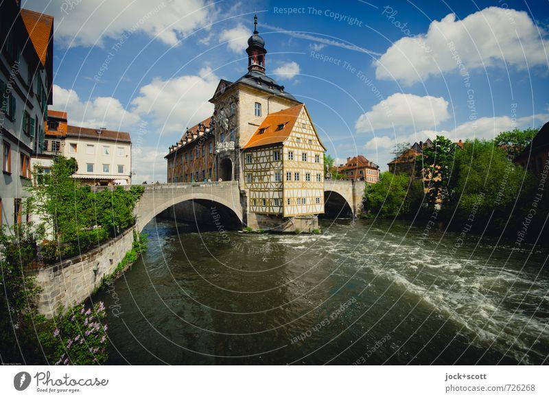 Postkarte Bamberg Sightseeing Städtereise Rokoko Himmel Wolken Frühling Schönes Wetter Fluss Regnitz Stadtzentrum Rathaus Fachwerkhaus Sehenswürdigkeit