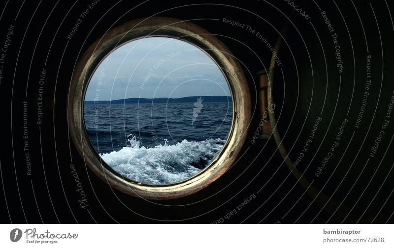 Bullauge See Wellen Meer Ferien & Urlaub & Reisen Kroatien Wasserfahrzeug Aussicht nautisch scuttle porthole blau Loch boat ocean sea water