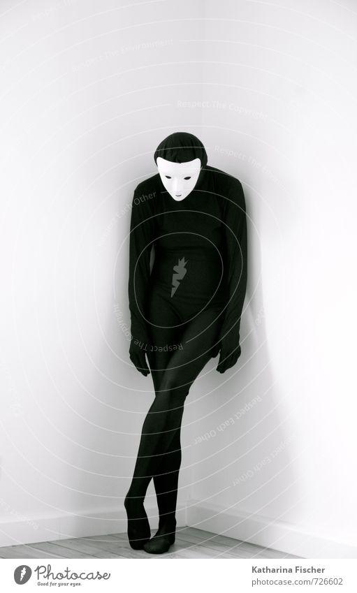 Are you happy ? Mensch weiß schwarz Traurigkeit Gefühle Innenarchitektur Stimmung Kunst Raum trist stehen Trauer Maske Müdigkeit Verzweiflung Sorge