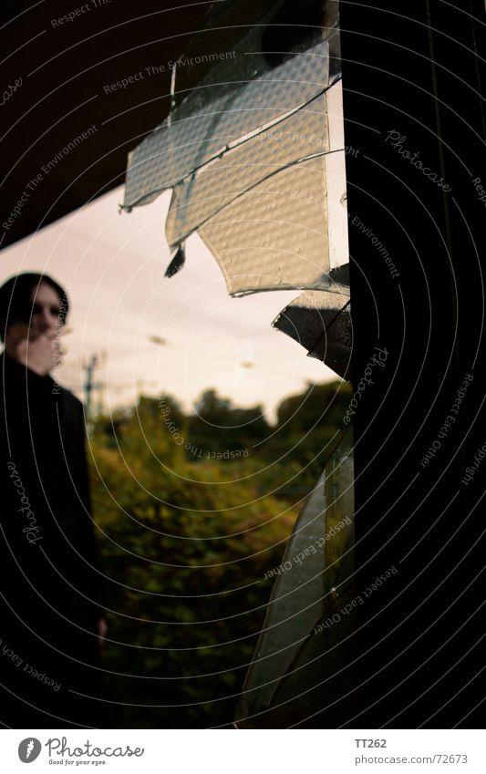 broken glass Fenster Zigarette Scherbe kalt bedrohlich Hochspannungsleitung Sträucher Einsamkeit