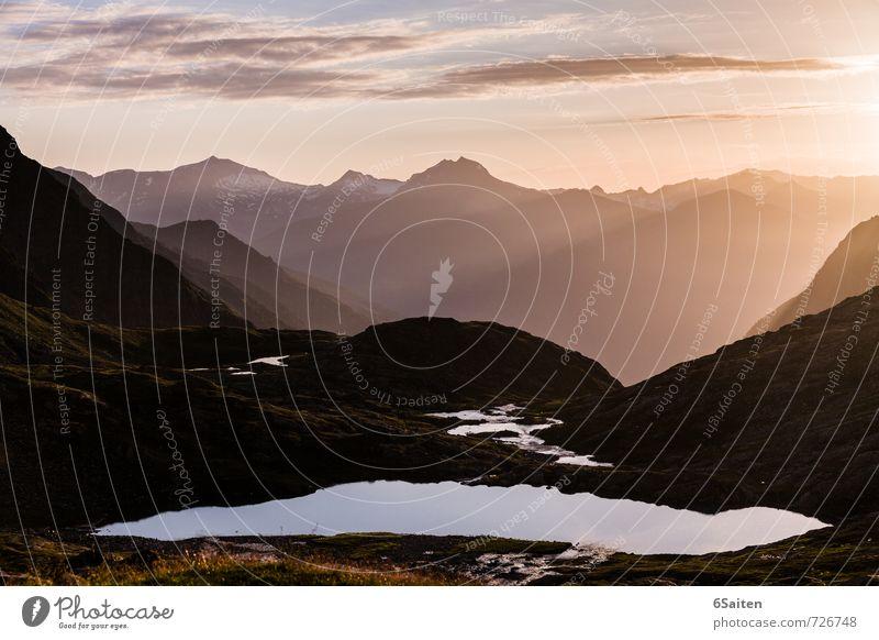 Morgenstille Himmel Natur Ferien & Urlaub & Reisen Sommer Erholung Landschaft ruhig Wolken Ferne Umwelt Berge u. Gebirge Wärme Gras Freiheit Erde leuchten