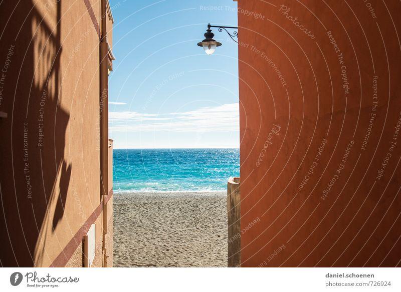 Aussicht auf ... Ferien & Urlaub & Reisen Tourismus Sommer Sommerurlaub Sonne Strand Meer Küste hell blau gelb rot Erholung Horizont Farbfoto