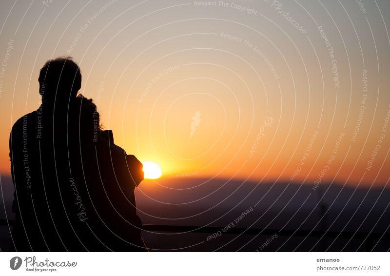 romantic sunset Mensch Frau Himmel Natur Ferien & Urlaub & Reisen Mann Sommer Erholung Freude Ferne Erwachsene Berge u. Gebirge Gefühle Liebe Freiheit Stimmung
