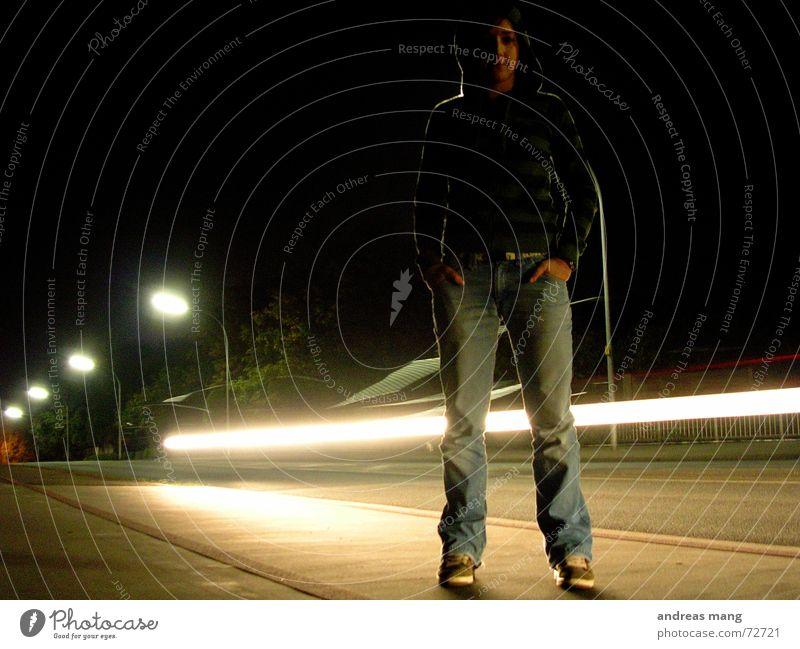 Standing at the road - Pt. II Licht stehen Frau dunkel Streifen Straßenbeleuchtung Laterne Geschwindigkeit Einsamkeit erleuchten Beleuchtung Am Rand Nacht light