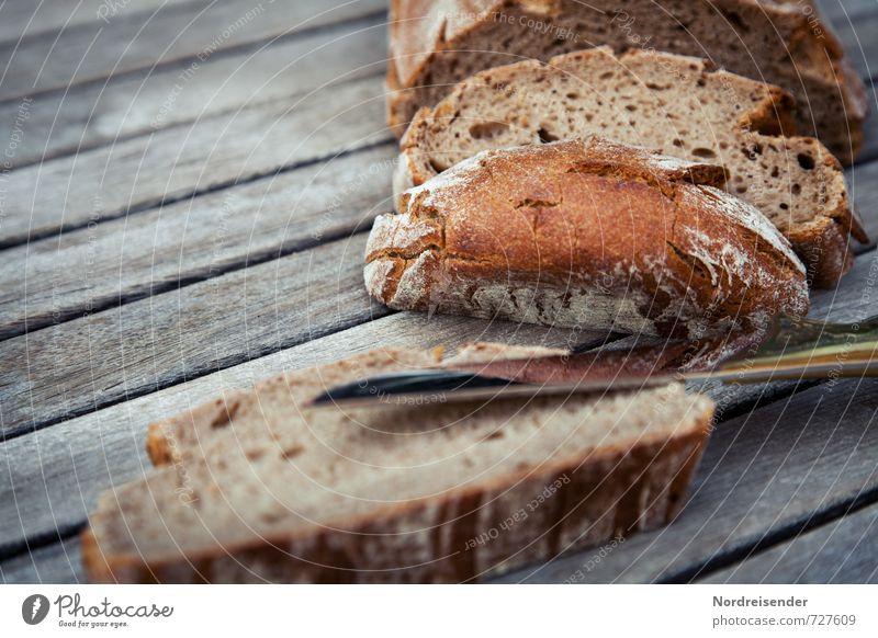 Wie geschnitten Brot.... Lebensmittel Teigwaren Backwaren Ernährung Bioprodukte Messer Essen natürlich authentisch Rechtschaffenheit sparsam Appetit & Hunger