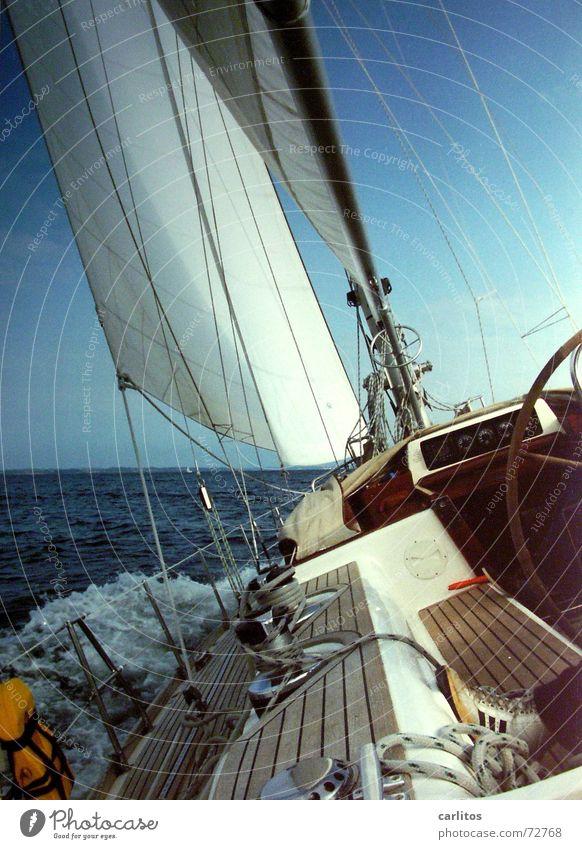 hart am Wind Wasser Meer Freiheit Wellen Wind Seil Abenteuer fahren Wasserfahrzeug Segeln diagonal Ostsee Strommast Segel