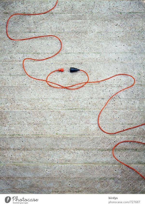 elektrisierende Verbindung Kabel Stecker Zeichen Knoten Küssen Erotik lustig positiv grau orange Frühlingsgefühle Sympathie Verliebtheit Partnerschaft Energie