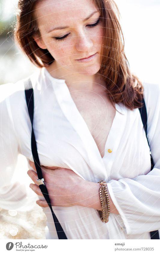 Bluse Mensch Jugendliche schön Junge Frau 18-30 Jahre Erotik Erwachsene feminin Hemd Hosenträger