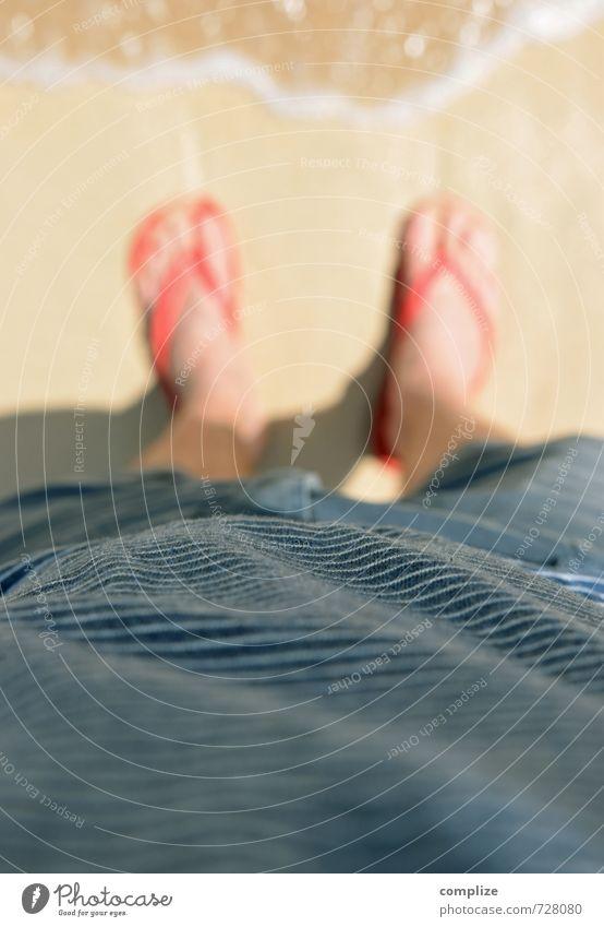 ..Mann am Strand gestreift Ferien & Urlaub & Reisen Mann schön Sommer Sonne Meer Erholung rot ruhig Ferne Strand Erwachsene Küste Schwimmen & Baden Freiheit Sand