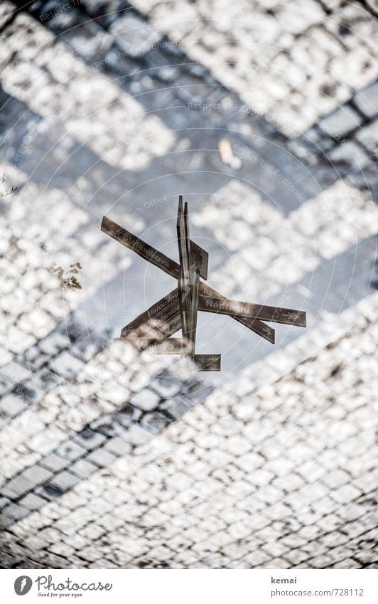 Kreuzweise | Kreuzweiser Wasser Stadt Straße Kopfsteinpflaster Wegekreuz wegweisend Straßenschild Schilder & Markierungen Schilderwald Schriftzeichen nass