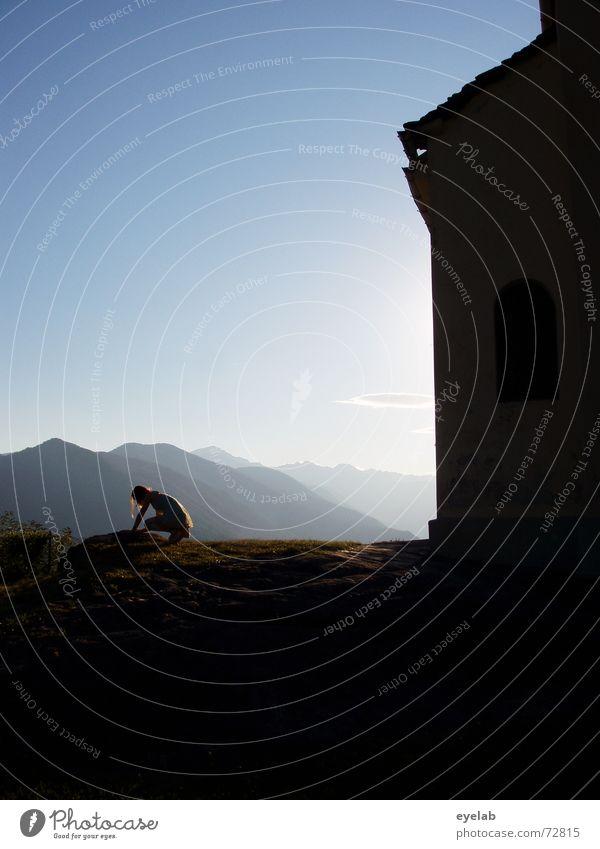 Rike und Berge Himmel blau Sonne Sommer schwarz Berge u. Gebirge Landschaft Religion & Glaube Nebel Hoffnung Sehnsucht