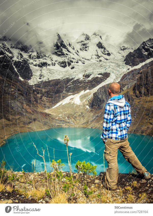 Der Wanderer Mensch Natur Ferien & Urlaub & Reisen Mann Erholung Landschaft Wolken Winter Ferne Umwelt Erwachsene Berge u. Gebirge Wiese Schnee Sport Freiheit