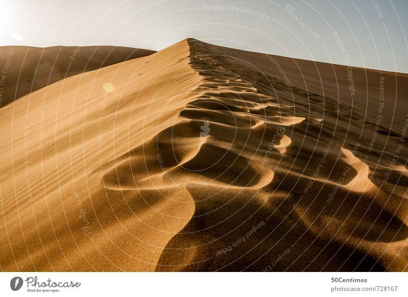 Spuren in der Wüste - Wüstendüne Natur Ferien & Urlaub & Reisen Einsamkeit Landschaft ruhig Ferne Leben Freiheit Sand groß Tourismus wandern Ausflug Zukunft Abenteuer Wüste