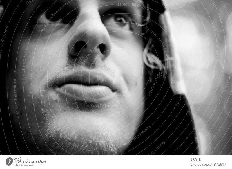 IchGlupsche Selbstportrait Lippen Unschärfe weiß schwarz Bart möchtegern lutschen ich kul mit ä Kapuze Blase Haut Nase bestimmt popel Haare & Frisuren