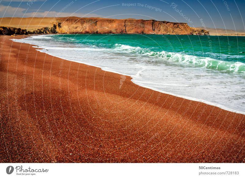 Roter Sandstrand in Paracas, Lima Peru Natur Ferien & Urlaub & Reisen Wasser Sommer Meer Landschaft ruhig Strand Ferne Umwelt Berge u. Gebirge Freiheit Wellen