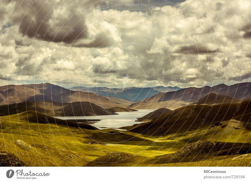 Gebirgslandschaft mit See Natur Ferien & Urlaub & Reisen Landschaft Wolken Ferne Berge u. Gebirge Umwelt Wiese Stil Zeit Erde Horizont Feld Wachstum Ausflug