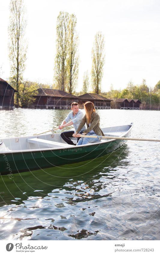 rudern maskulin feminin Junge Frau Jugendliche Junger Mann Freundschaft Paar 2 Mensch 18-30 Jahre Erwachsene Umwelt Natur Frühling Schönes Wetter See schön