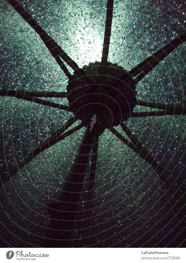 shiny umbrella grün schwarz dunkel Regen Wassertropfen nass Regenschirm