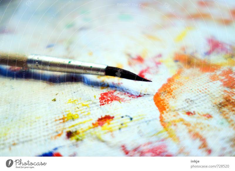 Blumenfarbe Freizeit & Hobby malen Kunst Papier Pinsel Leinwand Farbfleck Farbverlauf Farbe Farbenwelt frisch mehrfarbig gelb orange rot weiß Gefühle Stimmung