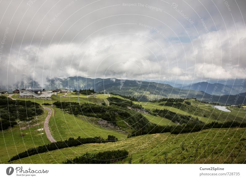 Steinplatte Natur Landschaft Urelemente Erde Luft Himmel Wolken Gewitterwolken Wetter schlechtes Wetter Nebel Wiese Wald Hügel Felsen Berge u. Gebirge